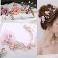 Aksesoris Sanggul Bandana Bunga Hiasan Rambut Pesta Pengantin B27
