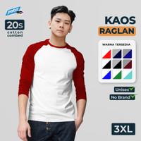 Kaos Raglan Polos Super Cotton 20s Ukuran XXXL (3XL) JUMBO SIZE