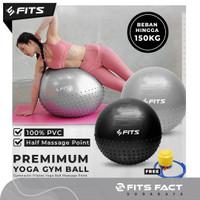 Gymnastic Pilates Yoga Ball Point Massage Gym Ball | FITS FACT - Hitam, 55cm