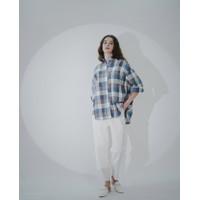 This Is April Orla Oversize Button down Linen Shirt - Blue
