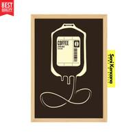 Poster Dinding KOPI COFFEE Ilustrasi Bingkai Kayu A4+ Premium SK1210X