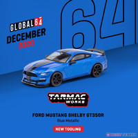 Tarmac Works Ford Mustang Shelby GT350R Blue Metallic 1/64
