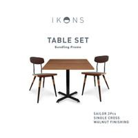 Table Set 2 Sailor + Single Cross Walnut 60x60