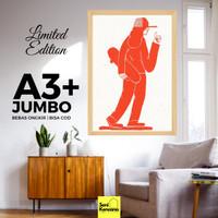 Poster Dinding SKATEBOARDER A3+JUMBO Bingkai Kayu Premium SK1610B