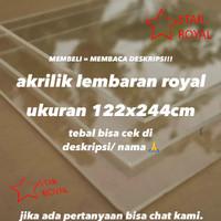 akrilik lembaran merk royal (uk 122 x 244 cm) bening 4 mm