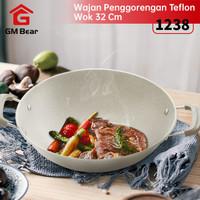 GM Bear Wajan Penggorengan Teflon 32cm 1238-Cooking Pan Wok White