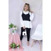 Utami top atasan blouse wanita lengan panjang bahan twiscone size L