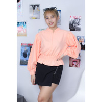 Katlina blouse wanita corak polos bahan twiscone size fit L