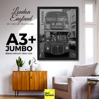 Hiasan Dinding Trip London Bus England Frame Kayu A3 JUMBO SK110I