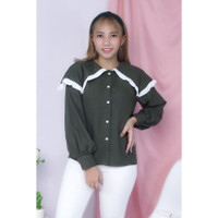 Marina top blouse wanita model kerah layer list putih bahan twiscone