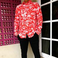 Kemeja Pria H&M Patterned Tropical Floral Slimfit Print SS Shirt
