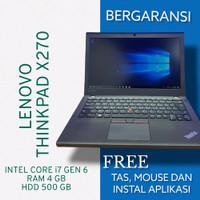 LAPTOP KERJA LENOVO X270 CORE I7 GEN 6 RAM 4GB HDD 500GB MULUS GARANSI