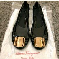 Flat Shoes Sepatu Flat Jelly Shoes - Camel, Size 8