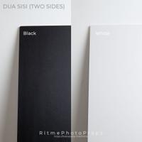 Alas Foto Background Board Dua SIsi uk 60x60cm Polos - Black & White