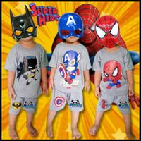 Baju Setelan Stelan Kaos Fashion Bayi Anak Laki Laki Cowok Superhero