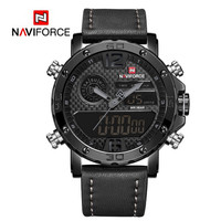 NAVIFORCE Jam Tangan AnalogDigital Pria NF-9134M Genuine Leather Strap