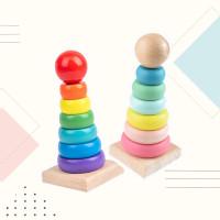 Wooden Stacking Tower/Mainan Susun Menara/Mainan Edukasi Anak