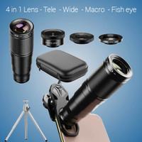 Lensa Hp Smartphone Fotografi 4in1 Tele Wide Macro Makro Fisheye