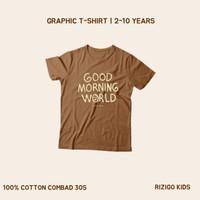 Kaos Anak Rizigo Kids Series Font Good Morning - Kaos Anak Laki Laki - Almond Brown, 2-3 tahun