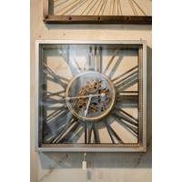 Jam Dinding / Clock Model Industrial Persegi - 53x53 cm