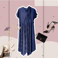 midi dress plisket wanita premium - Navy