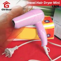 GM Bear Travel Hair Dryer Mini Pink 1326 -Vlasy Pengering Rambut Lipat
