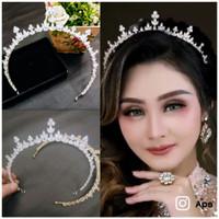 mahkota zircon murah tiara crown memanjang sampe telinga MZ04