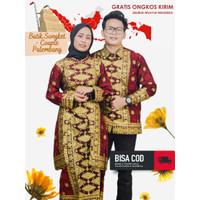Baju Batik Songket Palembang Merah Bintang Berantai ( Bisa Couple )