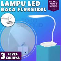Lampu LED Baca USB Fleksibel Pelindung Mata Sensor Sentuh - Putih