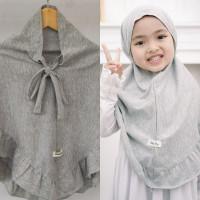Jilbab Anak Sahara Hullapop Warna Abu Size 1-5tahun - 1tahun