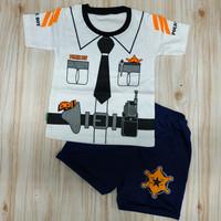 baju setelan anak/bayi laki laki 0-1 tahun motif police