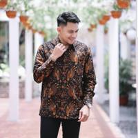 baju kemeja batik sogan pria lengan penjang pendek modern pesta kantor - S
