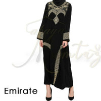 abaya gamis arab emirate bahan jetblack bordir modern dress muslimah
