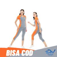 Baju senam set wanita   setelan olahraga senam aerobik wanita jumbo - Orange, XL