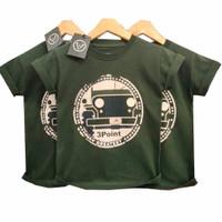 Baju Kaos Anak Laki-Laki Distro Three Point Mobil Army Original