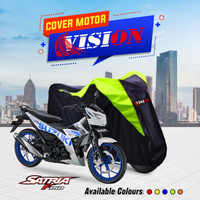 cover motor satria F 150 list hijau
