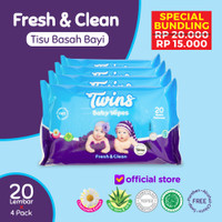 Twins Tissue Basah Bayi Fresh & Clean - 20 Sheets
