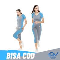 Baju senam olahrga wanita set atasan senam dan celana senam panjang - Biru Muda, XL