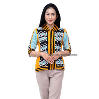 Blouse Batik Wanita Atasan Modern Motif ulos S-M-L-XL-XXL-3L-4L-5L - S