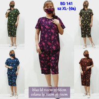 BD141 setelan babydoll batik bigsize XL baju tidur wanita daster