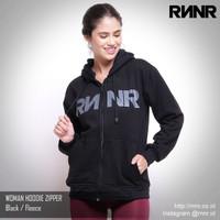 Hoodie Zipper Wanita Jaket Sweater Olahraga RNNR Hitam Fleece Nyaman