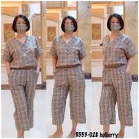 baju wanita setelan motif blueberry