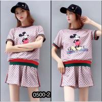 Baju Wanita Setelan Import CP Karakter Mickey Gucci