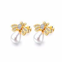 Elegant Gold Small Bee Pearl Stud Earrings Cubic Zirconia Anting