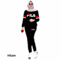 Setelan Training, Baju Atasan & Celana Training Wanita, Baju Muslim - Hitam, XL