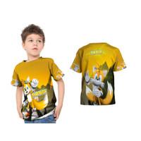 Kaos T-shirt Baju Anak Sonic The Hedgehog Yellow Fullprint Custom - S - S