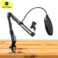 Paketan Stand Mic Arm Stand Microphone Plus Pop Filter - Lebih Murah