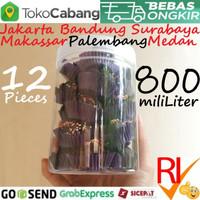 Toples Plastik 800mL 12 Pcs Jar Cylinder 0,8L Tabung 800 mL 0,8 Liter