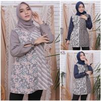 Atasan Baju Batik Blouse Wanita Dewasa Muslim Modern Cantik Terbaru