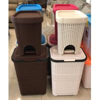 keranjang laundry plastik tebal motif rotan ready makassar murah baju